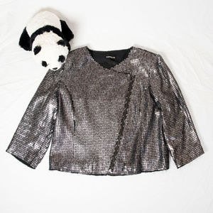 Silver, black sequined Express asymmetrical zipper